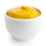 Piccolo piatto ceramico bianco di senape americana Immagini Stock