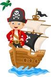 Piccolo pirata del fumetto sulla sua nave illustrazione di stock