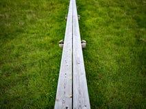 Piccolo ponte di legno in erba Fotografia Stock