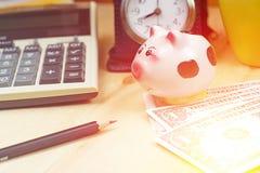 Piccolo porcellino salvadanaio e calcolatore finanziario, mucchi del dollaro americano b Immagini Stock