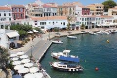 Piccolo porticciolo a Arrecife, Menorca, Baleari, Spagna fotografie stock libere da diritti