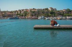 Piccolo porto Amasra - la Turchia 05 15 2016 la città da piccolo har Fotografia Stock