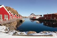 Piccolo porto del villaggio Mortsund, Lofoten, Norvegia Fotografie Stock Libere da Diritti