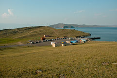Piccolo porto sulla linea costiera Immagini Stock Libere da Diritti