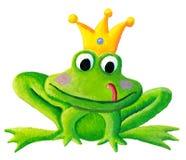 Testa sorridente della rana sveglia con la corona illustrazione