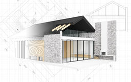Piccolo progetto moderno della casa Immagini Stock Libere da Diritti