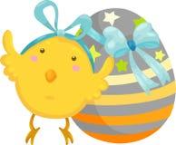 Piccolo pulcino con il vettore dell'uovo di Pasqua Fotografie Stock
