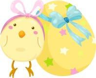 Piccolo pulcino con il vettore dell'uovo di Pasqua Fotografia Stock Libera da Diritti