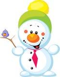 Piccolo pupazzo di neve con l'uccello isolato Fotografia Stock Libera da Diritti