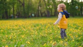 Piccolo ragazzo affascinante che gioca con le bolle di sapone nel parco un giorno soleggiato video di movimento lento archivi video
