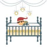 Piccolo ragazzo appena nato nel sonno del cappello del `s della Santa Immagini Stock Libere da Diritti