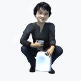 Piccolo ragazzo asiatico che tiene tazza e contatiner 3 Immagini Stock