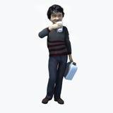Piccolo ragazzo asiatico che tiene tazza e contatiner 2 Fotografia Stock Libera da Diritti