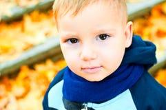 Piccolo ragazzo biondo sveglio in sciarpa blu Immagini Stock Libere da Diritti
