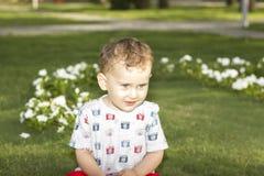 Piccolo ragazzo 5 degli occhi azzurri Fotografie Stock Libere da Diritti