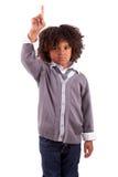 Piccolo ragazzo dell'afroamericano con la barretta in su Fotografia Stock Libera da Diritti