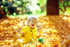 Piccolo ragazzo felice in rivestimento giallo che gioca con le foglie Fotografia Stock
