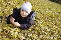 Piccolo ragazzo sorridente che si trova sui fogli di autunno Fotografia Stock