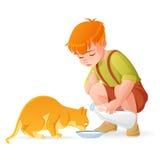 Piccolo ragazzo sveglio della testarossa che alimenta il suo gatto con latte Illustrazione di vettore del fumetto illustrazione di stock