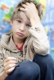 Piccolo ragazzo sveglio di upset fotografia stock libera da diritti
