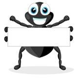 Piccolo ragno sveglio con il segno in bianco Immagini Stock