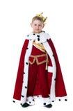 Piccolo re sorridente isolato su fondo bianco Fotografie Stock