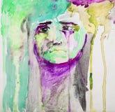 Piccolo ritratto triste del bambino - pittura astratta dell'acquerello variopinta illustrazione vettoriale