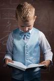 Piccolo scolaro con capelli biondi in un vestito piacevole, Immagini Stock