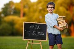 Piccolo scolaro sveglio che porta una pila di libri Fotografia Stock
