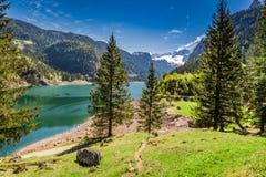 Piccolo sentiero per pedoni nel lago Gosausee in Gosau, alpi, Austria, Europa Immagini Stock