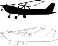 piccolo sillhouete dell'aeroplano di vettore Fotografia Stock
