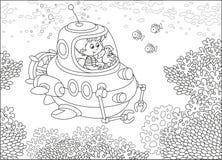 Piccolo sommergibilista su una scogliera Fotografie Stock Libere da Diritti