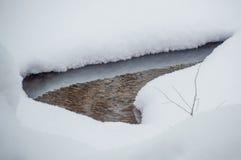 Piccolo stagno fuso nella neve profonda Fotografia Stock Libera da Diritti
