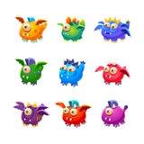 Piccolo straniero Dragon Like Monsters Set Immagine Stock Libera da Diritti