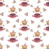Piccolo Teddy Bear che mangia torta di compleanno Fotografia Stock Libera da Diritti