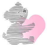 Piccolo Teddy Bear Holding Heart sveglio Illustrazione Vettoriale