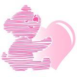 Piccolo Teddy Bear Holding Heart sveglio Illustrazione di Stock
