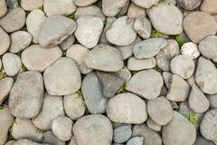 Piccolo tono in bianco e nero naturalmente lucidato del fondo dei ciottoli della roccia Fotografia Stock