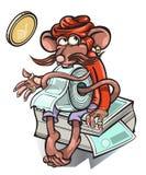Piccolo topo che vende i biglietti per il bus Immagine Stock