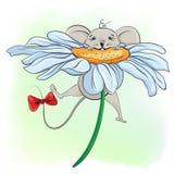 Piccolo topo divertente sul fiore Fotografie Stock