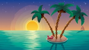 Piccolo tramonto del paesaggio dell'isola Fotografia Stock