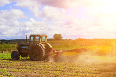 Piccolo trattore che funziona nel campo agricoltura del piccolo agricoltore Immagini Stock Libere da Diritti