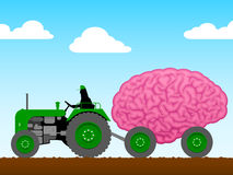 Piccolo trattore che tira un cervello enorme Fotografie Stock Libere da Diritti