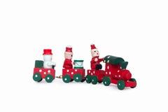 Piccolo treno di legno del giocattolo di Natale Fotografia Stock