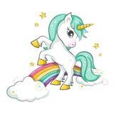 Piccolo unicorno magico sveglio illustrazione vettoriale