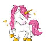 Piccolo unicorno rosa illustrazione di stock