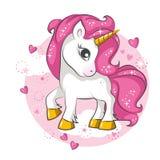 Piccolo unicorno rosa Progettazione per i bambini illustrazione vettoriale