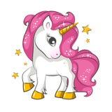 Piccolo unicorno rosa Progettazione per i bambini illustrazione di stock