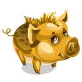 Piccolo verro dorato sveglio Animale di vettore isolato royalty illustrazione gratis