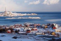 Piccolo villaggio del ` s dei pescatori di Ã… su Lofoten, Norvegia Fotografie Stock Libere da Diritti